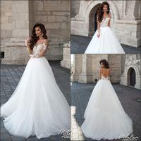 Белый Арабский Длинные рукава Свадебные платья принцессы 2016 Страна Западная Тюль Кружева Линия Backless Свадебные платья Турция