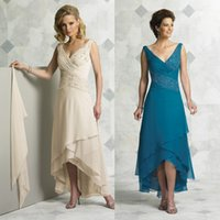 High Low Chiffon Mother Of The Bride Crystal Beaded V- Neck E...