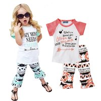 Retail New 2016 Letter Pattern Girls Clothing Set Summer Sty...