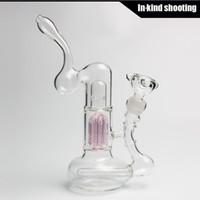 Bongs tuyaux d'eau bong verre fumer pipes en ligne verre arbre armes pipes de tabac waterpipe bubbler percs taille commune: 18.8mm bongs bubbler rose