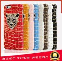 Роскошные 3D леопарда головы телефон дела Змея Ящерица текстуры кожи трудная крышка случая для iphone 6 6S Plus