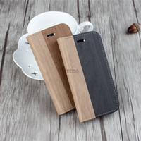 Color de madera del tirón del teléfono móvil de la cubierta de cuero del caso del teléfono móvil fino estupendo para el iPhone 6 6s 6plus