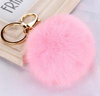 Vrai boule de fourrure de lapin Boule de fourrure douce Boule de métal adorable d'or Porte-clés Pom Poms de boule Porte-clés de voiture Porte-clés Boucles d'oreilles Accessoires