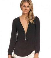 NEW Fashion 2016 Autumn V Neck Long Sleeve Zipper Sexy Chiff...