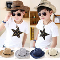 Hand woven children' s cowboy leisure jazz hat New fashi...