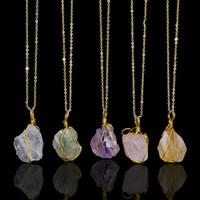 Nouveau fil Colorful main Enveloppé Raw Natural Stone femmes collier pendentif Améthyste Quartz Rose Dursy Cristal Colliers