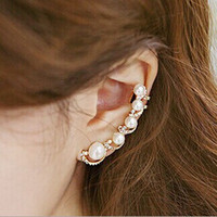 Newest Fashion Pearl Earrings Ear Cuff Rhinestones Single Ea...