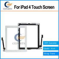 Garantie 100% testé pour l'écran tactile 4 digitizer en verre tactile avec bouton d'accueil Assemblage + autocollant blanc / noir Livraison rapide
