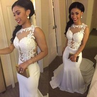 White Lace Satin Mermaid Prom Dresses 2017 New Sleeveless Sh...