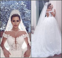 2016 Said Mhamad Off the Shoulder Vintage Lace Wedding Dress...