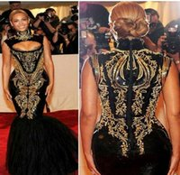 Hot Sexy Beyonce MET Gala Black And Gold Embroidery Beaded M...