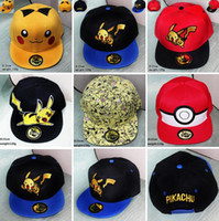 6 Colors Poke Go Pikachu Baseball Caps Snap Backs Hats Carto...