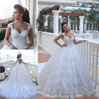 De Noiva Платье Luxury Кристалл 3D Flora аппликациями Свадебное платье 2016 Sexy Sheer Назад Романтическое бальное платье свадебное платье Robe де Mariage
