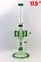2016 RECYCLER bong verre Diamètre 70mm bongs en verre d'eau 8 bras verts avec le type perc grand bong de verre