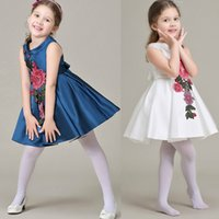 Girl Dress with Flower Embroidery 2016 Sleeveless Party Dres...