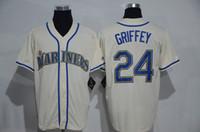 Мужская Сиэтл # 24 Кен Гриффи Jr Cream трикотажных изделий бейсбола Джерси холодный низкопробный Скидка Бейсбол Wear нашит Спортивная одежда для продажи