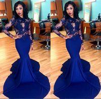 Африканский Royal Blue Illusion с длинным рукавом Русалка труба вечерние платья сексуальный шлейф партии шнурка платья выпускного вечера BA1820