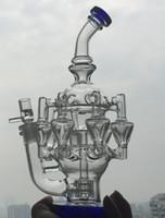 BLEU grand verre de l'article bong tuyau d'eau 8 bras perc 1gear Percolateur huile de barbotage en verre rig14.4 mm joint