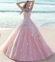 2016 Sexy бальное Pink Тюль Бич Саудовская Аравия Длинные Пользовательские платья выпускного вечера кружева аппликация платья партии вечера
