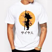 2017 T novo da impressão de Goku do filho T-shirt da esfera Z do dragão do Anime de Japão da forma dos homens Camisa super dos homens das partes superiores do hipster da camisa super de Saiyan