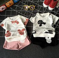 Summer 2016 Girl 2PCS Set Mickey Minnie Broken T- shirt + Sho...