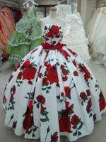 2016 Лепесток Сила печати Свадебные платья Свадебные платья бадья Опухший ручная работа Gowns Цветы без бретелек Sexy Back Свадебные