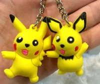 3D Pocket Monster Keychains Cute Cartoon Flexible Glue Penda...