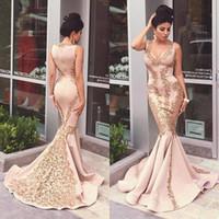 2016 Gorgeous Mermaid Long Evening Dresses Gold Lace Appliqu...