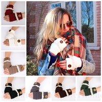 Women Lace Button Fingerless Gloves Knitted Arm Warmer Soft ...