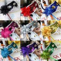 Маскарада на удержание Маски Золотая Ткань с покрытием цветов Side Венецианские маски Halloween Masquerade партии Маски в наличии Мода для мужчин женщин