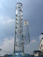 Nouvelle arrivée verre 5-7mm d'épaisseur droite bongs en verre de douche perc trous pleins tuyau d'eau de tuyaux en verre avec 18mm joint femelle