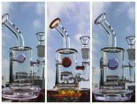 Mini Bubbler Glass Bongs Jet Perc Pink Purple Amber ball wat...