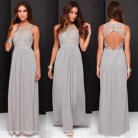 Hot Sale Elegant Light Grey Long Lace Chiffon Bridesmaid Dre...