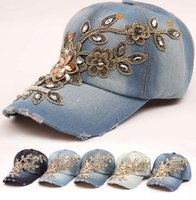 2016 new women baseball cap fashion crystal Rhinestone Flora...