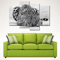 4 фото Комбинация Черный Белый 4 Панель стены искусства Картина голубоглазый тигр печать на холсте Картина для украшения дома