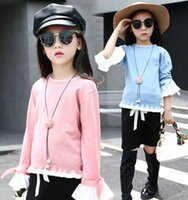 2016 Autumn Cute Big Girls Outfits Flouncing Sleeve Knitted ...