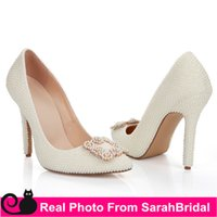 Cheap White Pearls Rhinestone Hot Wedding Bridal Shoes for A...