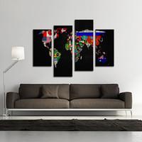 4 фото Сочетание картины маслом на холсте Wall Art Флаг мира контурная карта своей страны на картинке для украшения дома