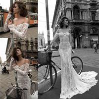 Liz Martinez 2016 Summer Mermaid шнурка Свадебные платья Sexy с плеча Иллюзия длинными рукавами аппликация Бич Sheer Свадебные платья BA2447