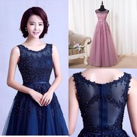 Real Image Lace A Line Prom Party Dresses 2016 Sheer Scoop B...