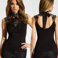 Fashion new Ladies Sleeveless Chiffon Blouse Lace Top Shirt ...