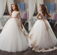 Cap Sleeve Tulle Flower Girls Dresses For Weddings Ball Gown...