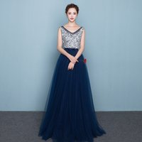 2017 Dark Navy Evening Dresses Long Lace Up Backless Sequins...