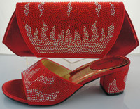 Hot sale Italian matching shoe and bag sets with rhinestones...