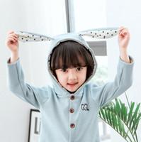 Cartoon rabbit ear coat embroidery hoodie for girls kids chi...