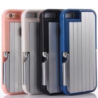 For iphone 7 metal selfie case in- built folding selfie stick...