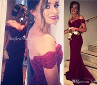 2K16 Sexy Burgundy Off Shoulder Mermaid Prom Dresses 2016 Ne...