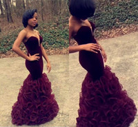 2016 Burgundy Mermaid Prom Dresses Custom Made Sweetheart Af...