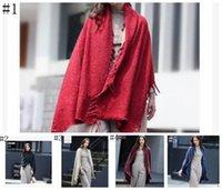 Brasão Scarf Thicken Xaile Inverno Quente Knit Cardigan camisola lenço longo Casacos de cashmere com borlas 5 cores Cape LJJO839