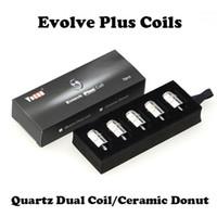 Керамические пончик Катушки кварцевые Dual Катушки Электронные сигареты Сменные катушки для Yocan Evolve Plus Kit 5pcs / пакет 100% первоначально быстрая доставка
